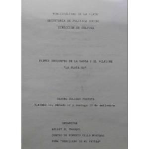 """1º Encuentro de la Danza y el Folklore """"La Plata 92"""""""
