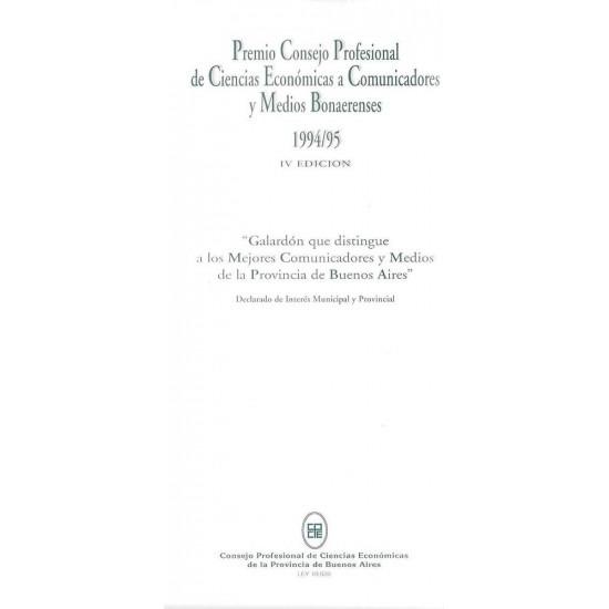Premio Consejo Profesional de Ciencias Económicas a Comunicadores y Medios Bonaerenses-IV Edición