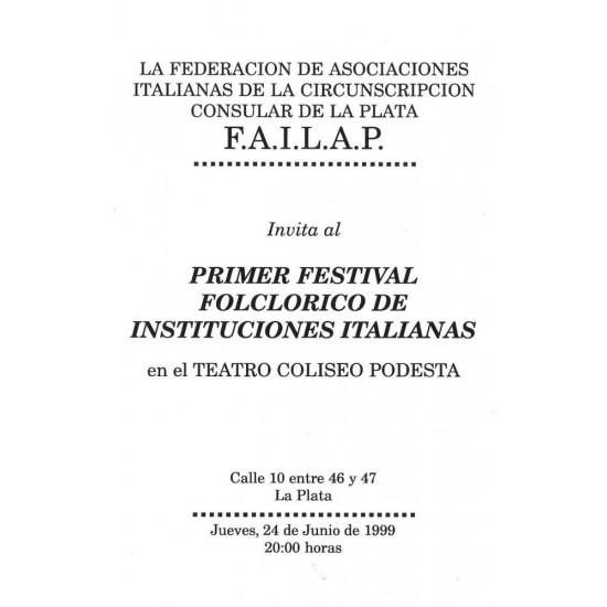 Primer Festival Folclorico de Institucioneaes Italianas