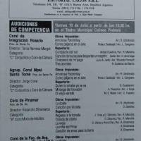 Primer Concurso de Interpretacion Coral Musica Folklórica y Popular Argentina