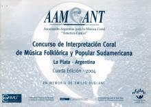 Cuarto Concursdo de Interpretación Coral de Música Folklórica y Popular Sudamericana